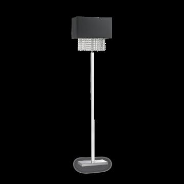 Торшер Ideal Lux PHOENIX PT1 NERO 113692, 1xE14x60W, хром, черный, прозрачный, металл, текстиль, хрусталь