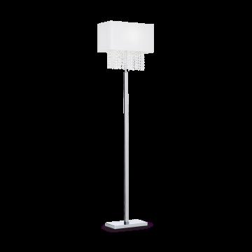 Торшер Ideal Lux PHOENIX PT1 BIANCO 115719, 1xE14x60W, хром, белый, прозрачный, металл, текстиль, хрусталь