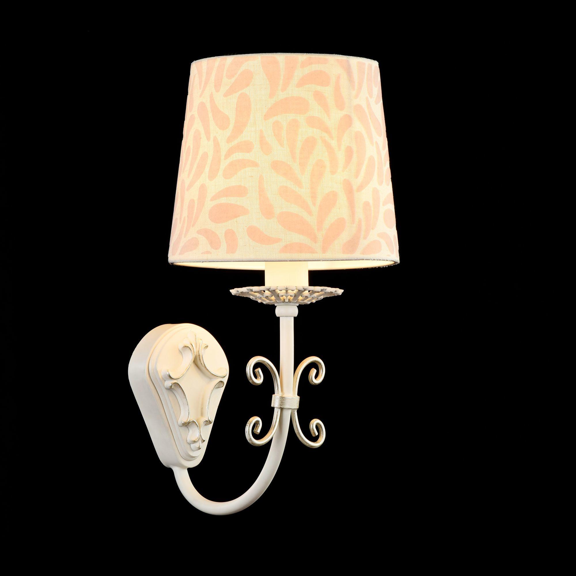 Бра Maytoni Classic Elegant Emilia ARM737-WL-01-W, 1xE14x40W, белый, бежевый, металл, текстиль - фото 4