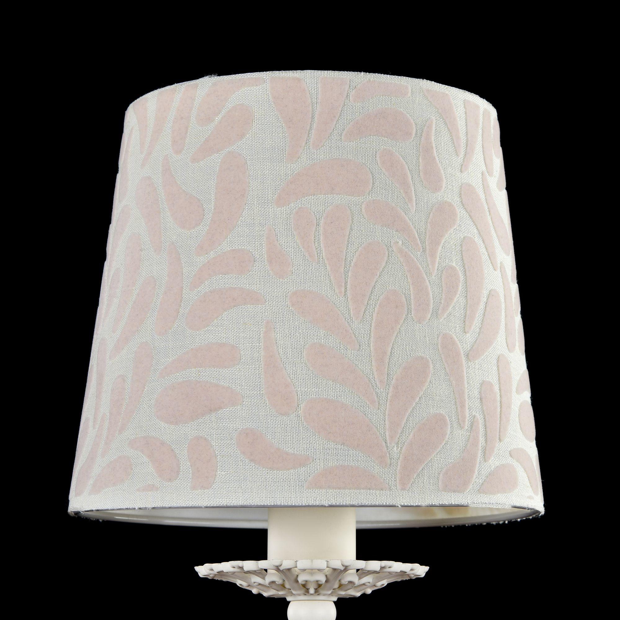 Бра Maytoni Classic Elegant Emilia ARM737-WL-01-W, 1xE14x40W, белый, бежевый, металл, текстиль - фото 5