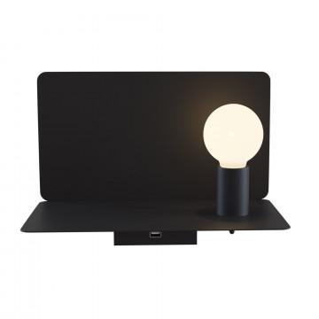 Настенный светильник с полкой Maytoni Rack C182-TL-01-B, 1xE27x60W, черный, металл
