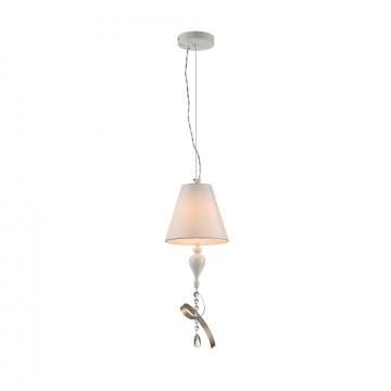 Подвесной светильник Maytoni Classic Elegant Intreccio ARM010-22-W, 1xE14x40W, белый, матовое золото, прозрачный, металл, текстиль, хрусталь