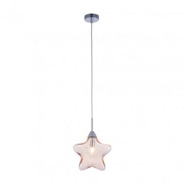 Подвесной светильник Maytoni Star MOD242-PL-01-AM, 1xG9x28W, хром, янтарь, металл, стекло