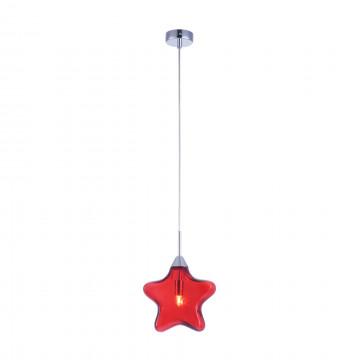 Подвесной светильник Maytoni Star MOD242-PL-01-R, 1xG9x28W, хром, красный, металл, стекло