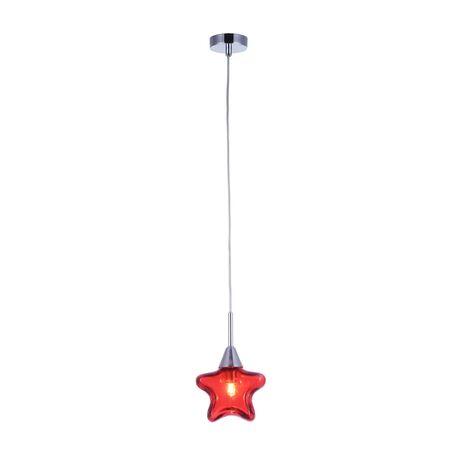 Подвесной светильник Maytoni Star MOD246-PL-01-R, 1xG9x28W, хром, красный, металл, стекло