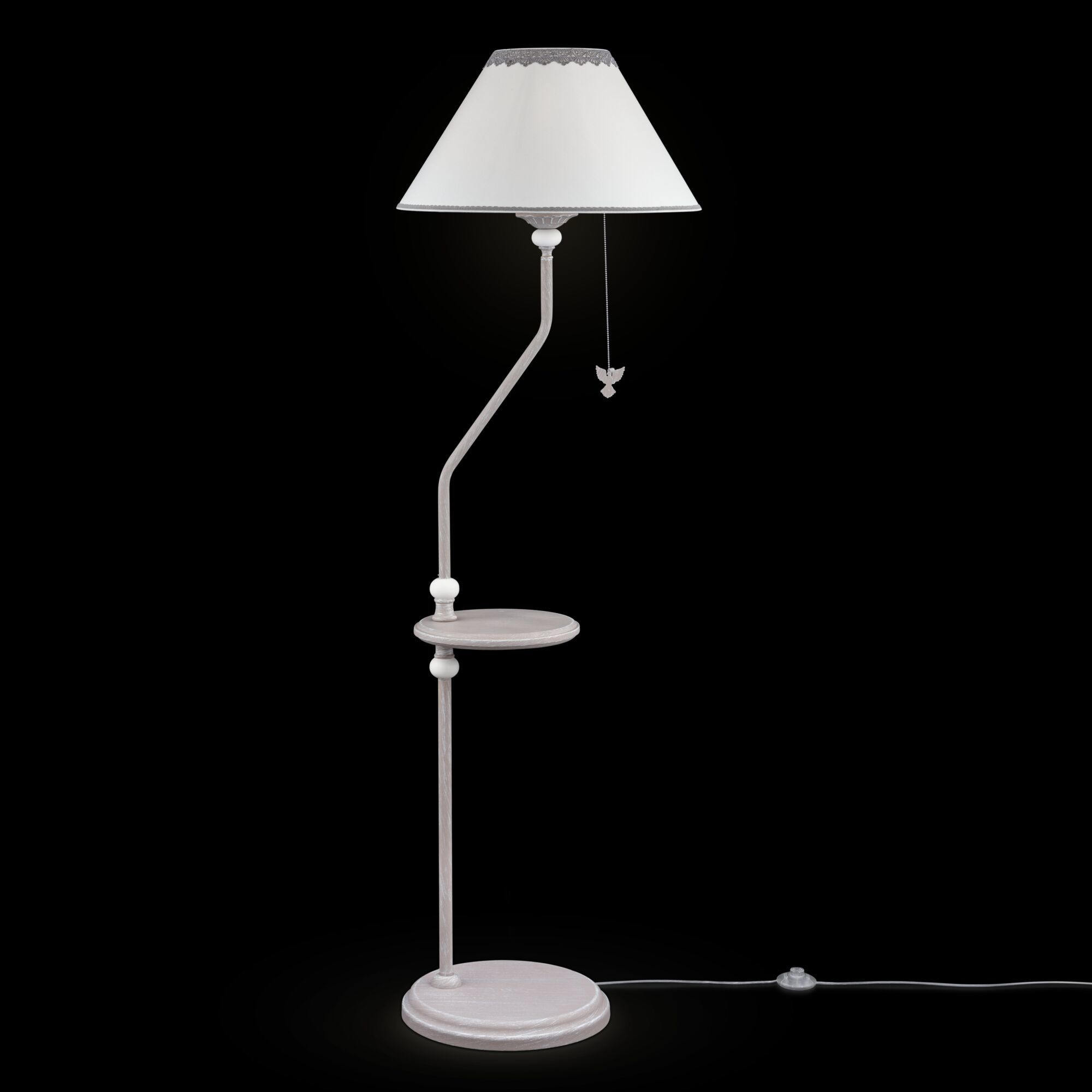 Торшер со столиком Maytoni Classic Elegant Bouquet ARM023-FL-01-S, 1xE27x40W, серый, металл, текстиль - фото 1