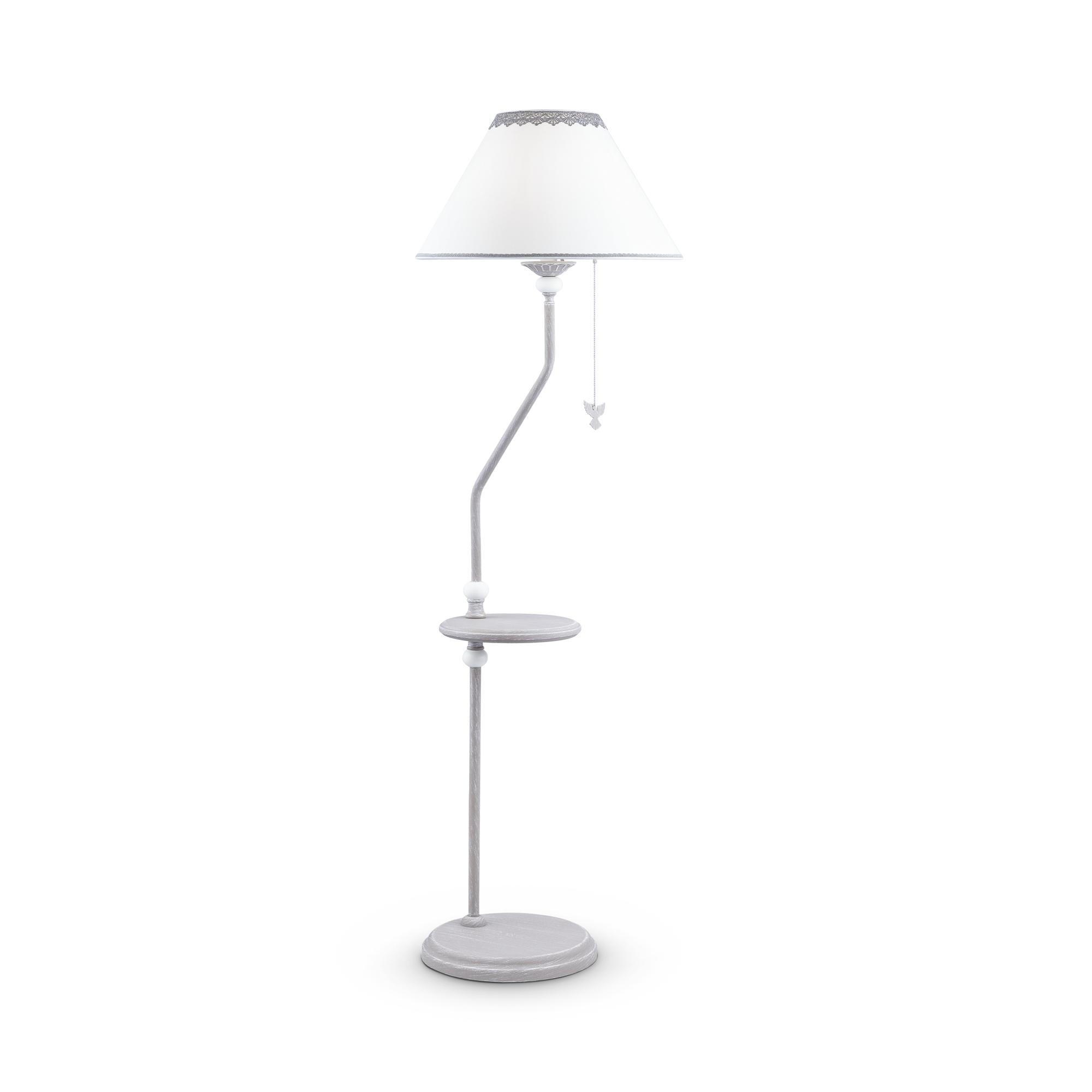 Торшер со столиком Maytoni Classic Elegant Bouquet ARM023-FL-01-S, 1xE27x40W, серый, металл, текстиль - фото 2