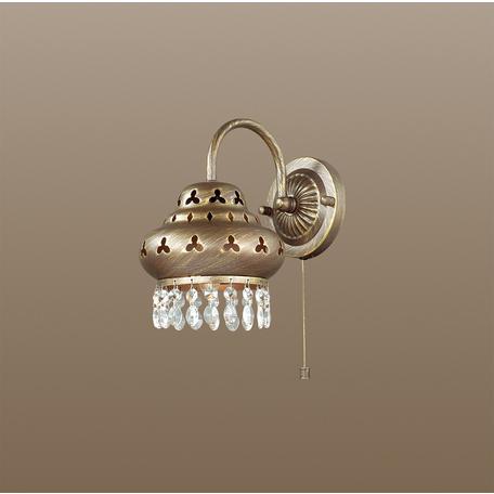 Бра Odeon Light Bahar 2841/1W, 1xE14x40W, коричневый с золотой патиной, прозрачный, металл, хрусталь
