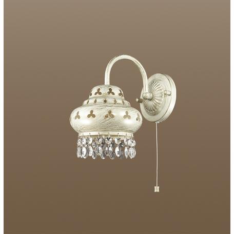 Бра Odeon Light Bahar 2842/1W, 1xE14x40W, белый с золотой патиной, прозрачный, металл, хрусталь