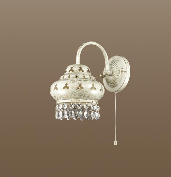Бра Odeon Light Bahar 2842/1W, 1xE14x40W, белый с золотой патиной, прозрачный, металл, хрусталь - фото 1