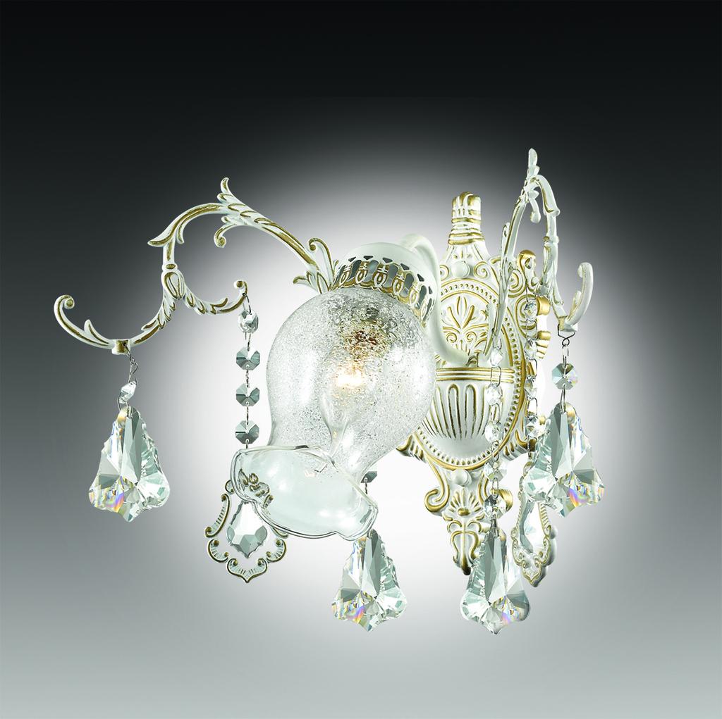 Бра Odeon Light Gardia 2880/1W, 1xE14x60W, белый, золото, прозрачный, металл, стекло, хрусталь - фото 1