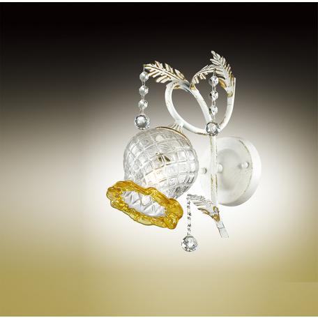 Бра Odeon Light Timora 2883/1W, 1xE14x60W, белый с золотой патиной, прозрачный, янтарь, металл, стекло, хрусталь