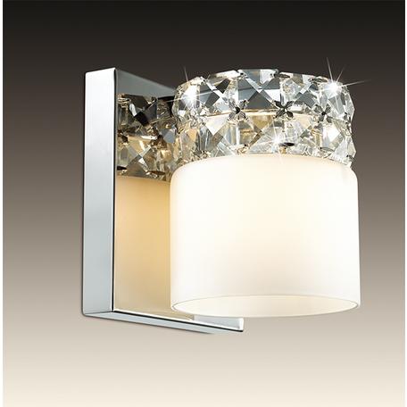 Настенный светильник Odeon Light Ottavia 2749/1W, 1xG9x53W, хром, белый, прозрачный, металл, стекло, хрусталь - миниатюра 1