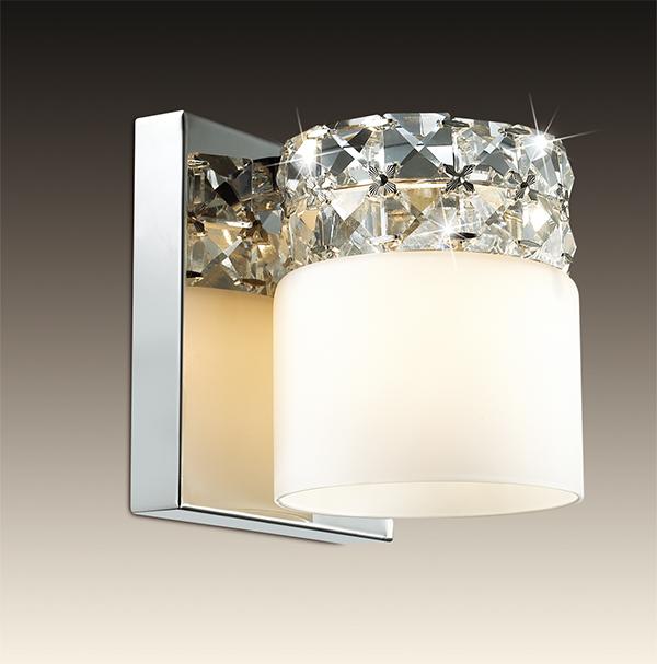 Настенный светильник Odeon Light Ottavia 2749/1W, 1xG9x53W, хром, белый, прозрачный, металл, стекло, хрусталь - фото 1