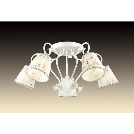 Потолочная люстра Odeon Light Montala 2886/5C, 5xE14x60W, белый, золото, разноцветный, керамика, металл, текстиль