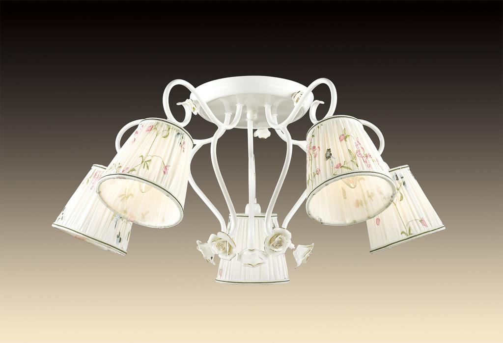 Потолочная люстра Odeon Light Montala 2886/5C, 5xE14x60W, белый, золото, разноцветный, керамика, металл, текстиль - фото 1