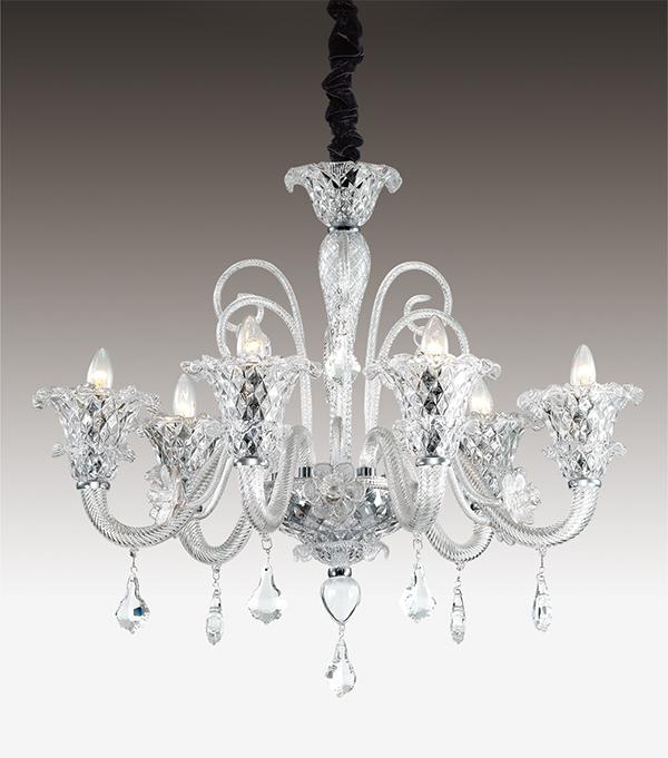 Подвесная люстра Odeon Light Abela 2791/6, 6xE14x40W, прозрачный, хром, металл, стекло, хрусталь - фото 1