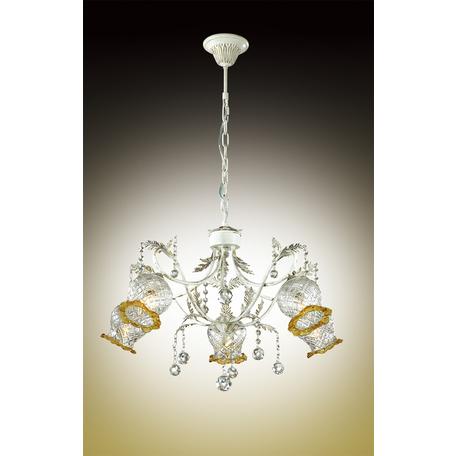 Подвесная люстра Odeon Light Timora 2883/5, 5xE14x60W, белый с золотой патиной, прозрачный, янтарь, металл, стекло, хрусталь