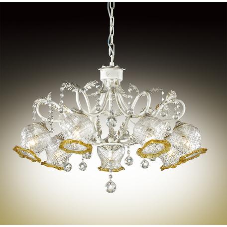 Подвесная люстра Odeon Light Timora 2883/7, 7xE14x60W, белый с золотой патиной, прозрачный, янтарь, металл, стекло, хрусталь