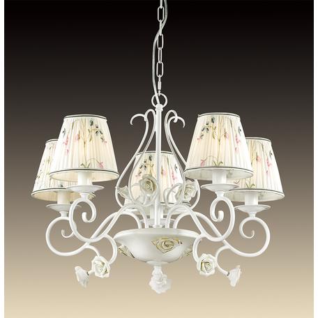Подвесная люстра Odeon Light Montala 2886/5, 5xE14x60W, белый, золото, разноцветный, керамика, металл, текстиль