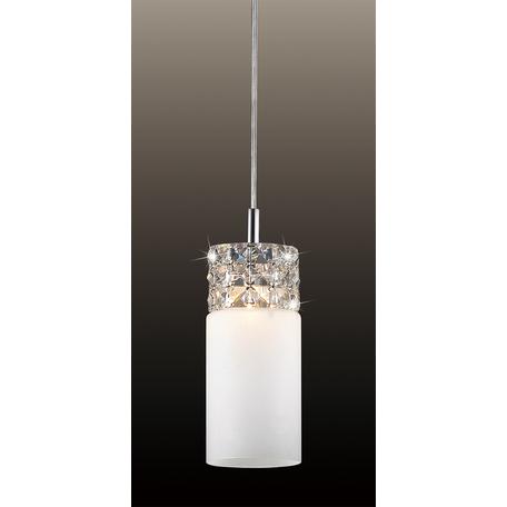 Подвесной светильник Odeon Light Ottavia 2749/1, 1xG9x53W, хром, белый, прозрачный, металл, стекло, хрусталь