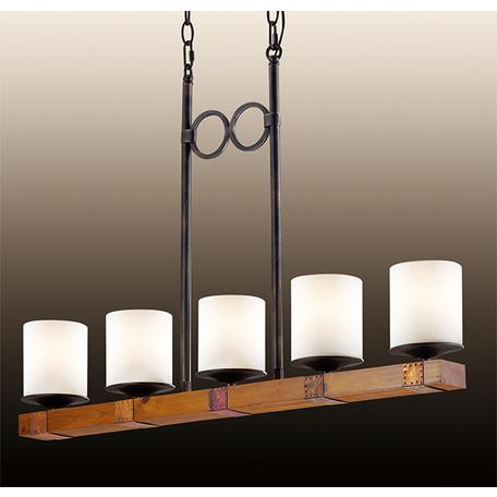 Подвесной светильник Odeon Light Country Fabo 2767/5, 5xE27x60W, коричневый, белый, дерево, стекло