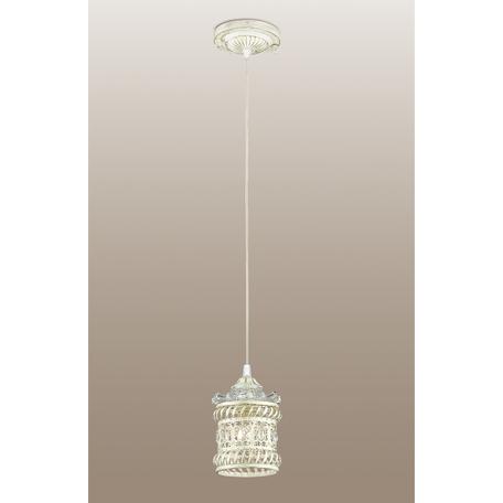 Подвесной светильник Odeon Light Zafran 2837/1, 1xE14x40W, белый с золотой патиной, прозрачный, металл, стекло, хрусталь