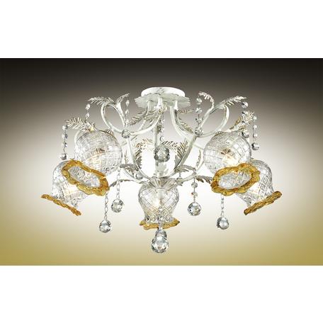 Потолочная люстра Odeon Light Timora 2883/5C, 5xE14x60W, белый с золотой патиной, прозрачный, янтарь, металл, стекло, хрусталь