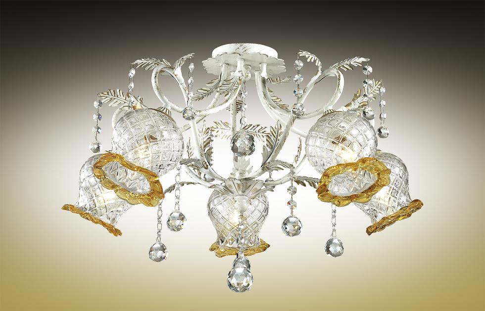 Потолочная люстра Odeon Light Timora 2883/5C, 5xE14x60W, белый с золотой патиной, прозрачный, янтарь, металл, стекло, хрусталь - фото 1