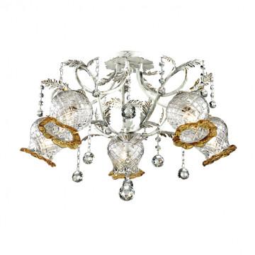 Потолочная люстра Odeon Light Timora 2883/5C, 5xE14x60W, белый с золотой патиной, прозрачный, янтарь, металл, стекло, хрусталь - миниатюра 2