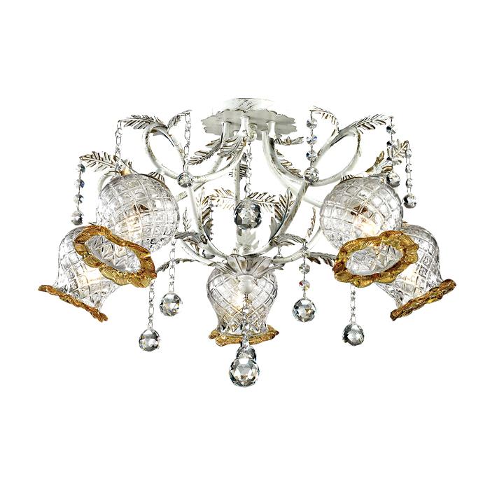 Потолочная люстра Odeon Light Timora 2883/5C, 5xE14x60W, белый с золотой патиной, прозрачный, янтарь, металл, стекло, хрусталь - фото 2