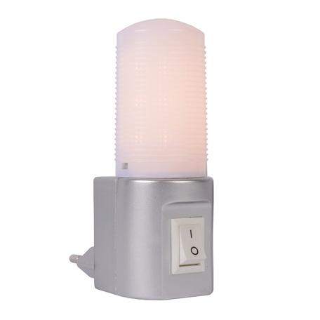Штекерный светодиодный светильник-ночник Lucide Night Light 22202/01/36, LED 3,5W 2700K (теплый), серебро, белый, пластик