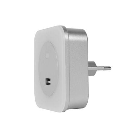 Штекерный светодиодный светильник-ночник Lucide Night Light 22203/01/36, LED 3,5W 2700K (теплый), серебро, белый, пластик