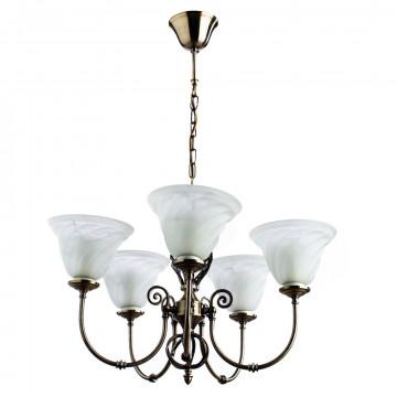 Arte Lamp Cameroon A4581LM-5AB, 5xE14x60W, бронза, белый, металл, стекло