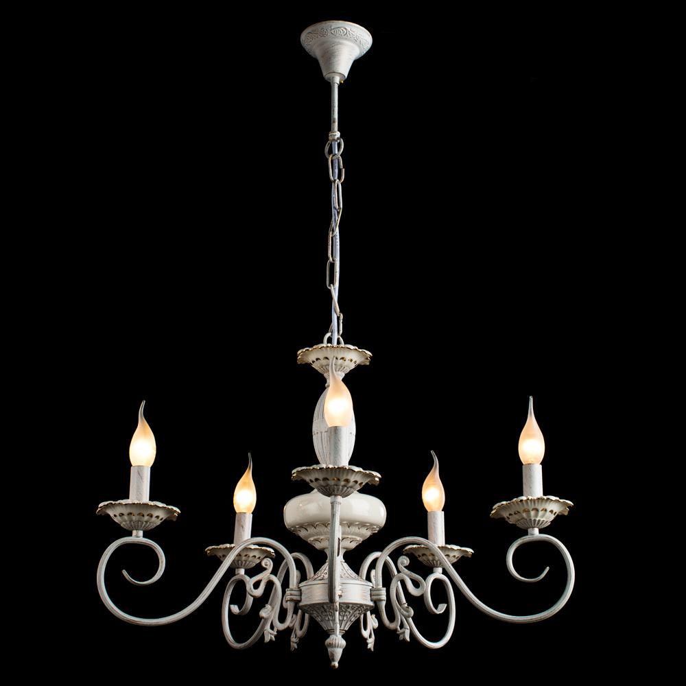 Arte Lamp Tilly A5333LM-5WG, 5xE14x40W, белый с золотой патиной, металл, керамика - фото 2