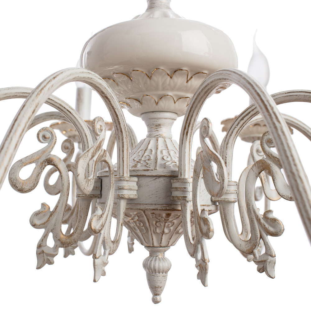 Arte Lamp Tilly A5333LM-8WG, 8xE14x40W, белый с золотой патиной, металл, керамика - фото 4