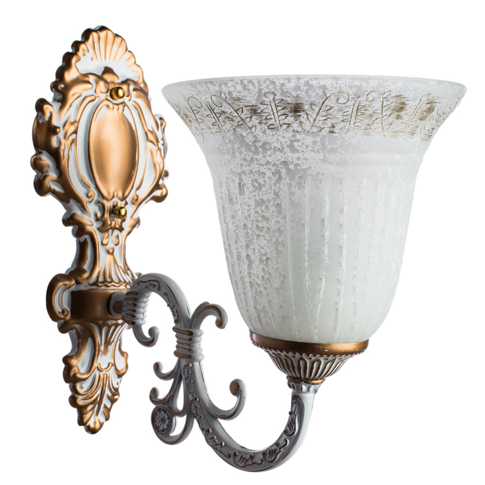 Бра Arte Lamp Delizia A1032AP-1WG, 1xE27x60W, белый, матовое золото, металл, стекло - фото 1