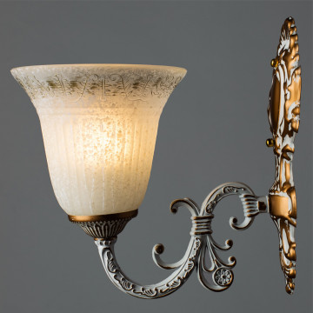 Бра Arte Lamp Delizia A1032AP-1WG, 1xE27x60W, белый, матовое золото, металл, стекло - миниатюра 2
