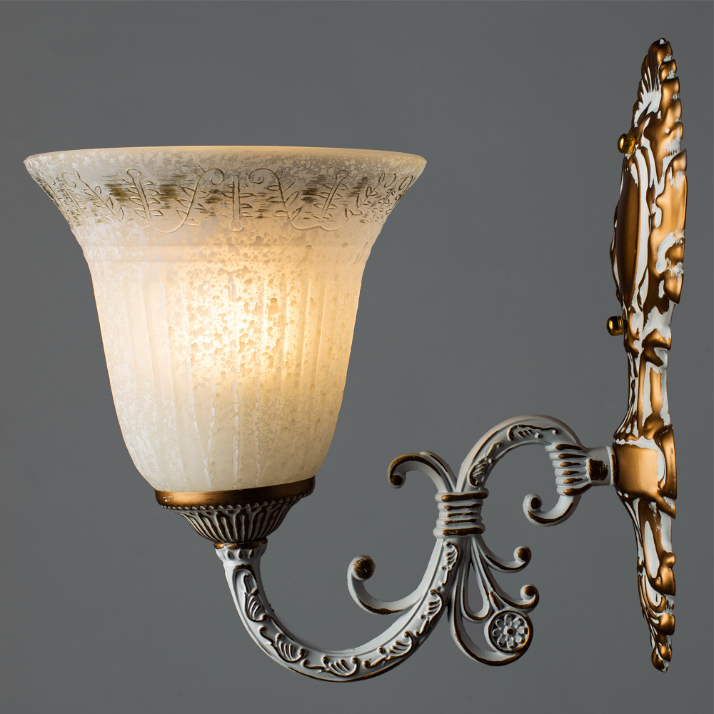 Бра Arte Lamp Delizia A1032AP-1WG, 1xE27x60W, белый, матовое золото, металл, стекло - фото 2