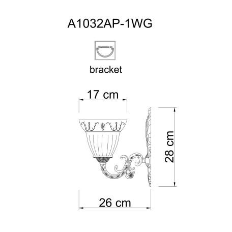 Схема с размерами Arte Lamp A1032AP-1WG