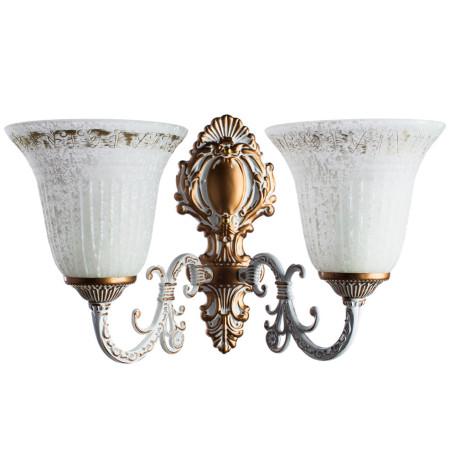 Бра Arte Lamp Delizia A1032AP-2WG, 2xE27x60W, белый с золотом, белый, металл, стекло