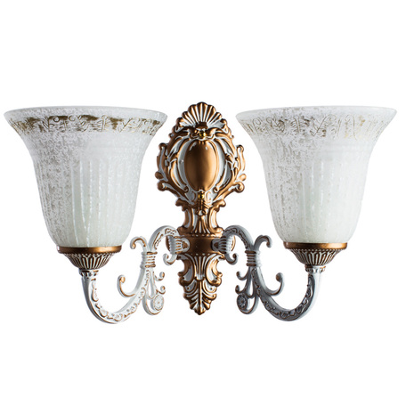 Бра Arte Lamp Delizia A1032AP-2WG, 2xE27x60W, белый, матовое золото, металл, стекло