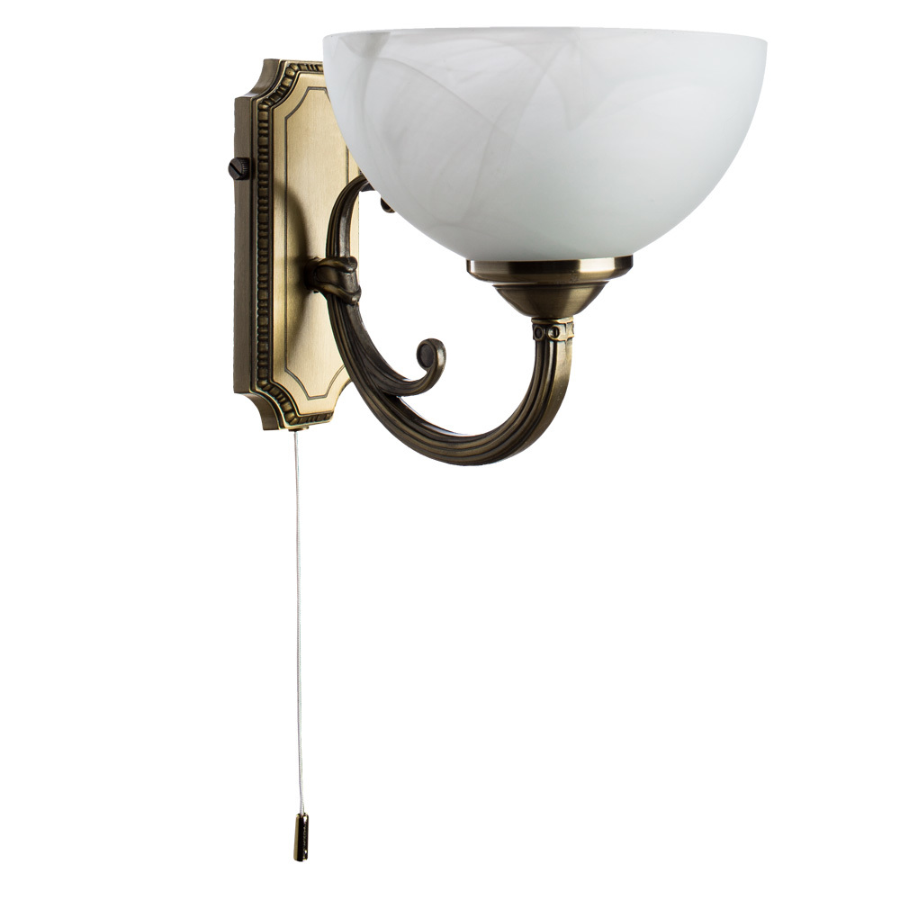 Бра Arte Lamp Windsor A3777AP-1AB, 1xE14x40W, бронза, белый, металл, стекло - фото 1
