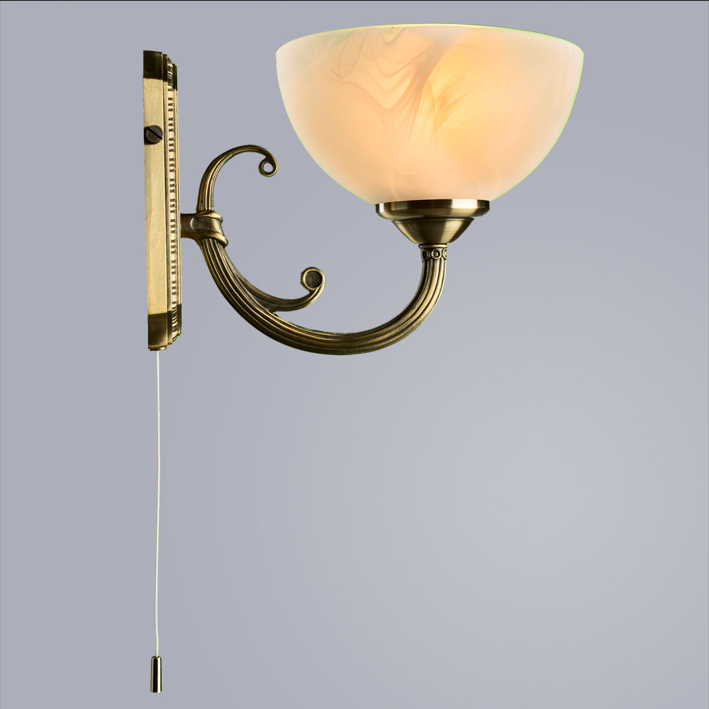 Бра Arte Lamp Windsor A3777AP-1AB, 1xE14x40W, бронза, белый, металл, стекло - фото 2
