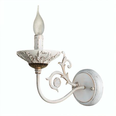 Бра Arte Lamp Faina A5326AP-1WG, 1xE14x40W, белый, белый с золотой патиной, золото, керамика, металл