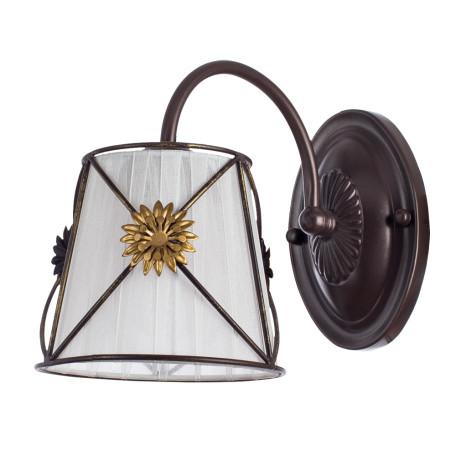 Бра Arte Lamp Fortuna A5495AP-1BR, 1xE14x40W, коричневый, металл, текстиль