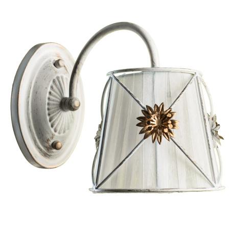 Бра Arte Lamp Fortuna A5495AP-1WG, 1xE14x40W, белый с золотой патиной, белый, матовое золото, металл, текстиль