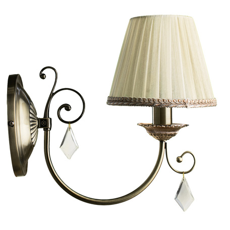 Бра Arte Lamp Vivido A6021AP-1AB, 1xE14x40W, бронза, белый, прозрачный, металл, текстиль, хрусталь