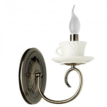 Бра Arte Lamp Teapot A6380AP-1AB, 1xE14x40W, бронза, металл, керамика