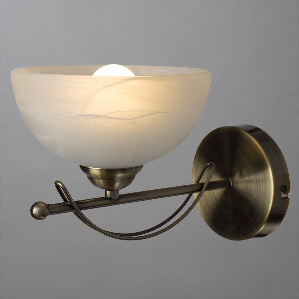 Бра Arte Lamp Ninna A8615AP-1AB, 1xE14x40W, бронза, белый, металл, стекло - фото 2